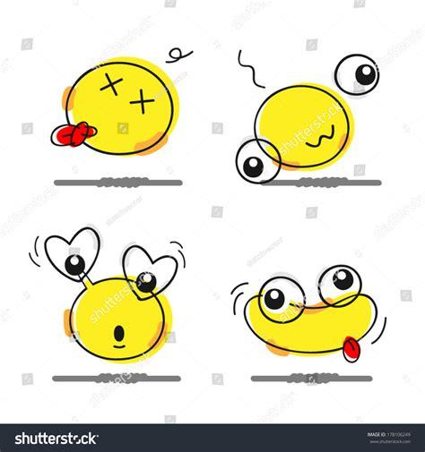 doodle emoticon doodle dumb emoticon part 1 stock vector 178106249