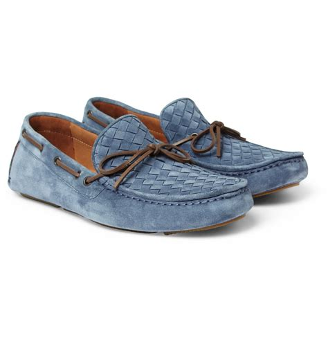 bottega veneta shoes bottega veneta intrecciato suede driving shoes in blue for