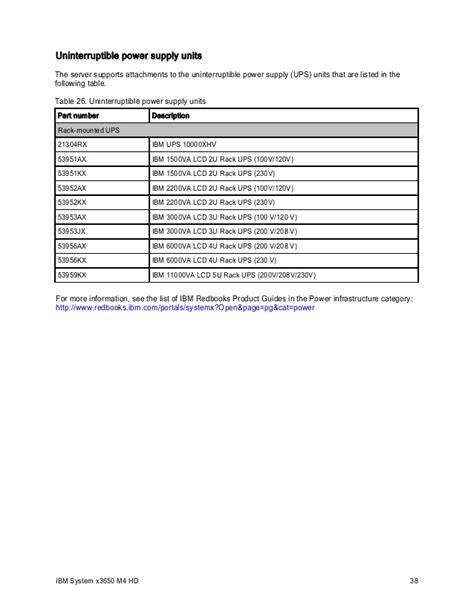 Ups Ibm 53952kx ibm system x3650 m4 hd