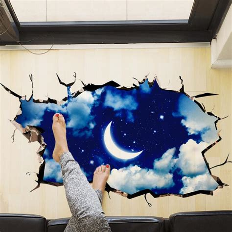 3d Wall Stickers For Kids 2016 new 3d outer space wall sticker moon stars planet