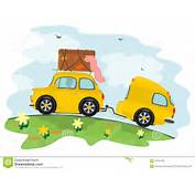 Lustiges Auto Mit Einem Wohnwagen Auf Dem Weg Zu Den Ferien Vektor