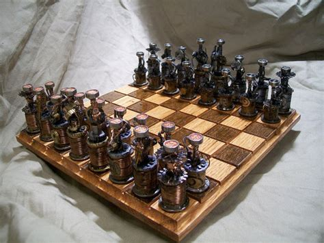 custom chess sets in stock ready to ship steampunk mech by oldeworldcc on etsy