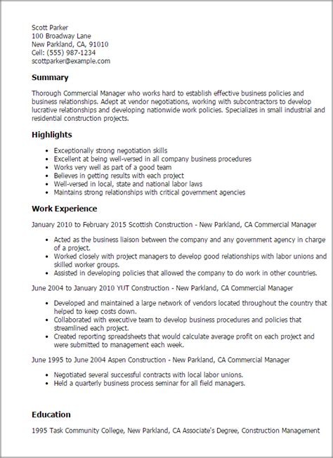 Commercial Project Manager Sle Resume by Professional Commercial Manager Templates To Showcase Your Talent Myperfectresume