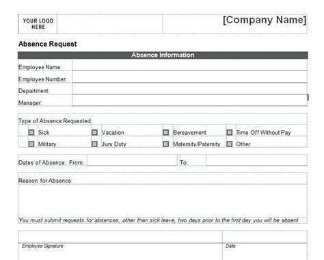 request template word employee vacation request form templates lafuen s