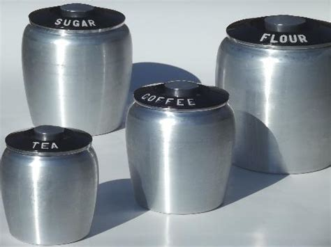 Vintage Glass Canisters Kitchen vintage kromex spun aluminum canister set retro kitchen
