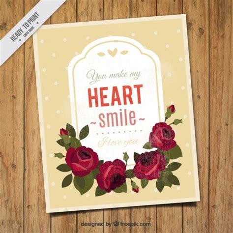 imagenes amor vintage tarjeta de amor vintage de rosas dibujadas a mano