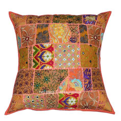 Patchwork Pillow Shams - orange 24 quot x24 quot big outdoor indoor tribal indian patchwork