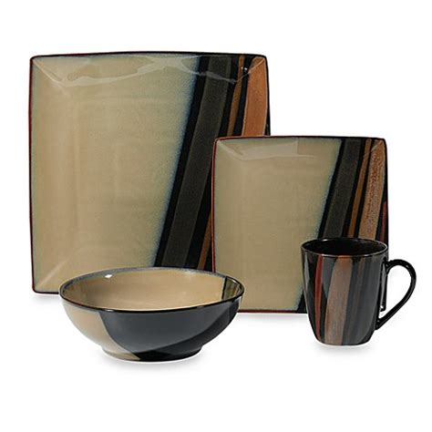 bed bath and beyond dishes buy sango avanti black 16 piece dinnerware set from bed