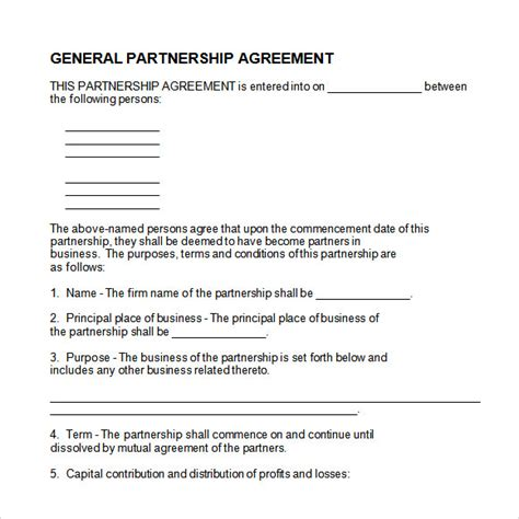 8 Sle Partnership Agreements Sle Templates Partnership Agreement Template Word