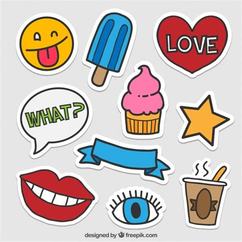 Fun Aufkleber by Lovely Stickers Of Fun Elements Vector Free Download