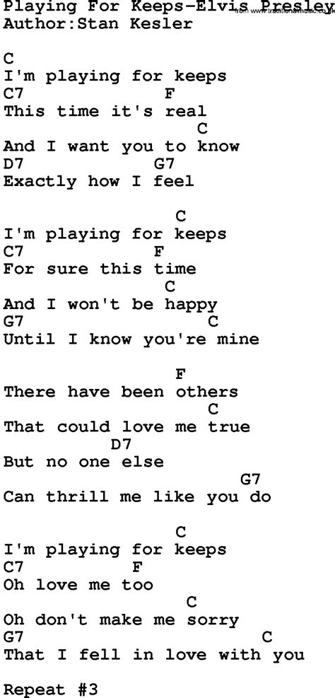 printable elvis lyrics country music playing for keeps elvis presley lyrics and