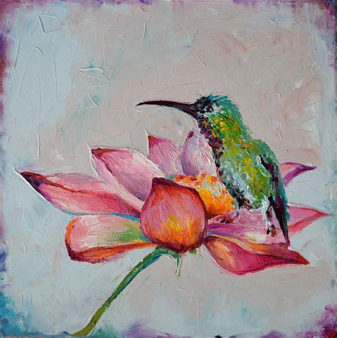 Floral Print Duvet Cover Zen Hummingbird On Lotus Original Floral Oil Painting