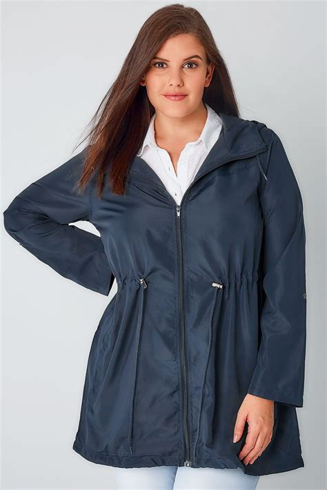 Jaket Parka Hoodie Pocket Navy Berkualitas navy shower resistant pocket parka jacket with plus size 16 to 36