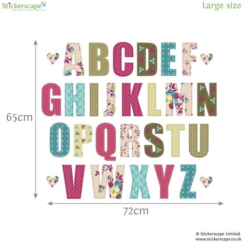 large alphabet wall stickers vintage floral alphabet wall sticker alphabet wall