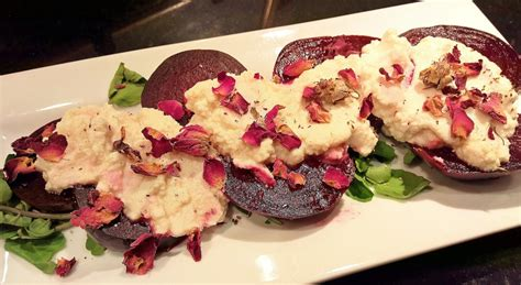 v for vegetables michael anthony roasted beets with ricotta around s table