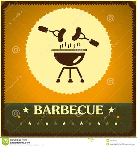 Retro Barbecue Grill Poster Design Menu Background Stock