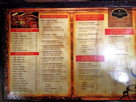 Menu Coffee Toffee Malang menu more menus on the back picture of java dancer