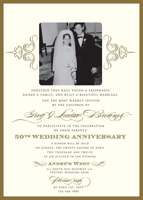 wedding anniversary templates 60th wedding anniversary invitation wording sles