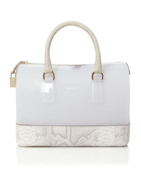 furla jelly by ifa shop furla snake mix jelly bowling in white lyst