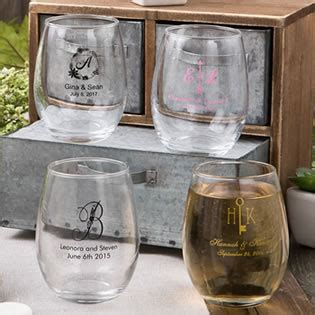 engraved barware stemless wine glass favors personalized favors