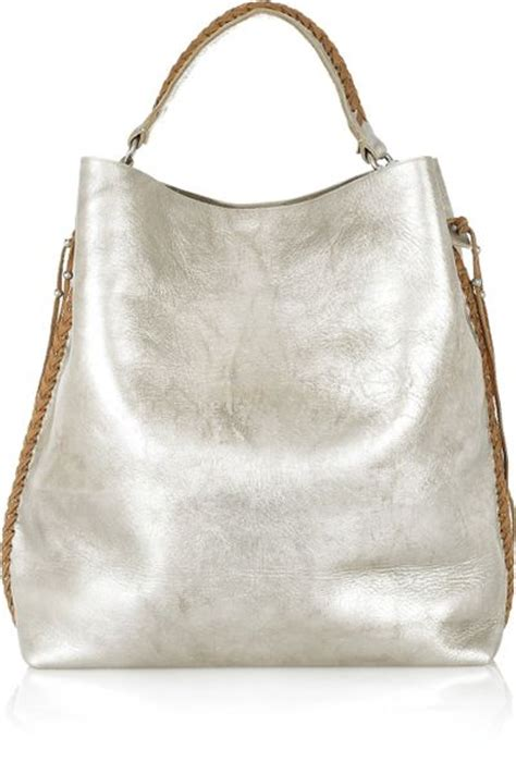 White Laced Leather Handbag by Ralph Collection Laced Metallic Leather Tote In