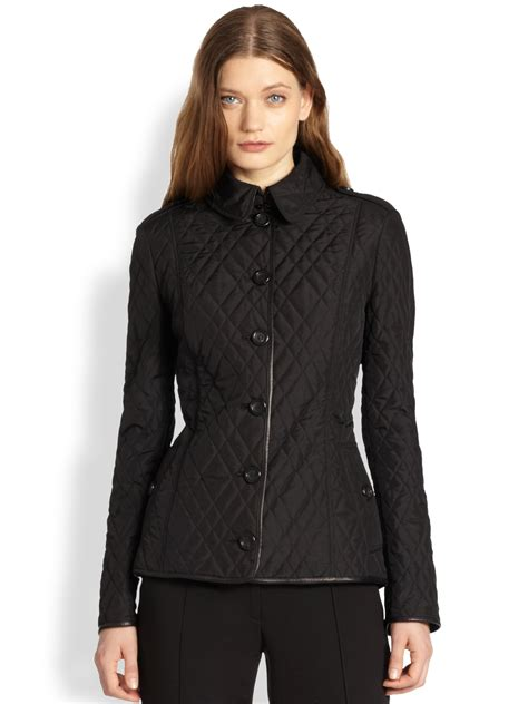 Quilted Jacket Burberry by Burberry Leather Detail Quilted Jacket In Black Lyst