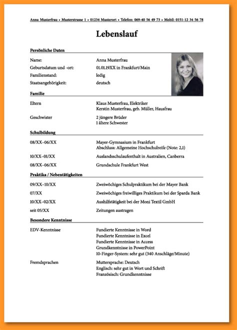 Lebenslauf Muster Für Ausbildung 6 lebenslauf schreiben bewerbungsschreiben