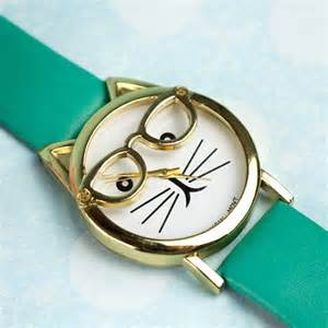 cute cat watch glasses turquoise toxicfox uk