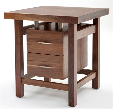Contemporary classic collection end table with two drawers woodland creek furniture