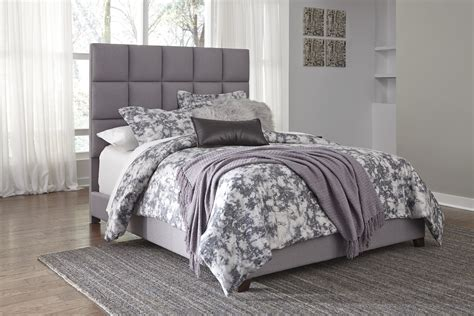 ashley furniture   contemporary queen gray fabric bed frame