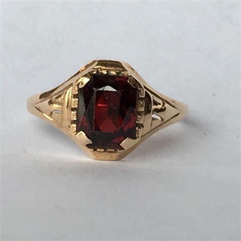 vintage garnet ring in 10k gold unique engagement