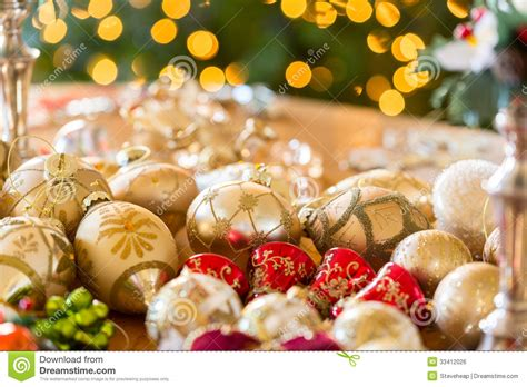 christmas decorations on table stock photo image 33412026