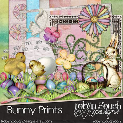 Pretty Scrapbooking Embellishments For Easter by Digital Scrapbook Kit Bunny Rabbit