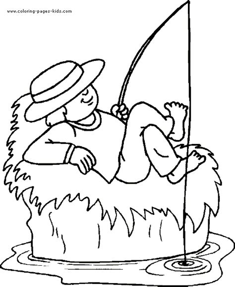 coloring page of boy fishing boy fishing coloring page
