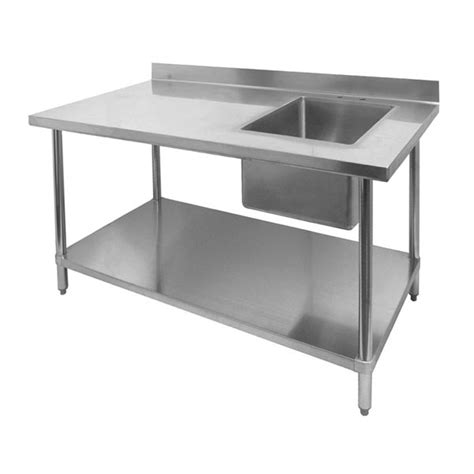 stainless steel table with sink restaurant prep tables with built in sinks