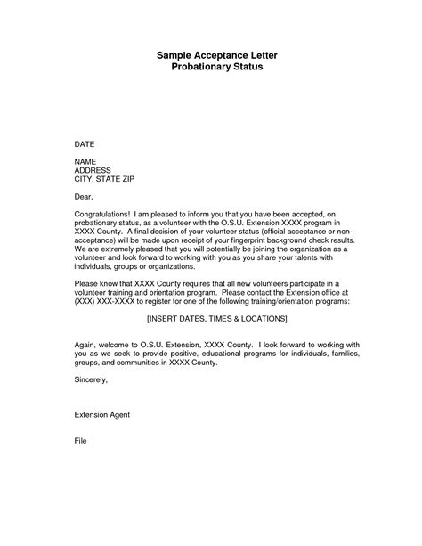 Acceptance Letter For Student Council comprehensible letter of acceptance sle for student