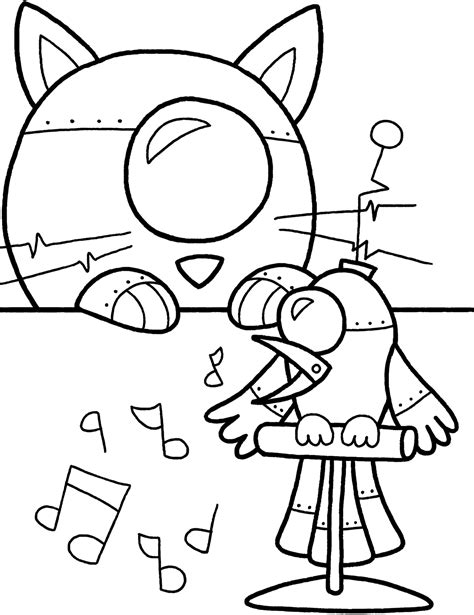 robot cat coloring page robot coloring pages only coloring pages