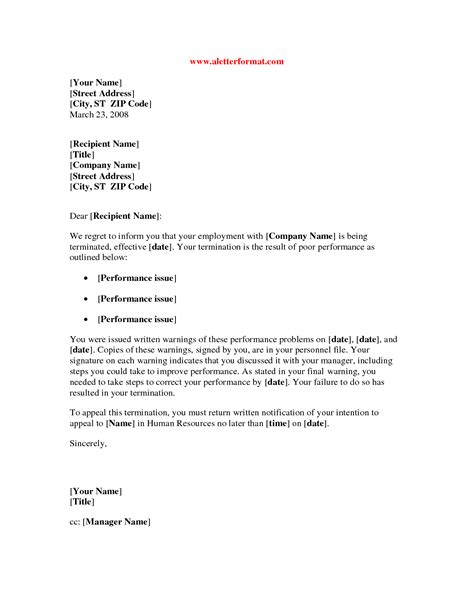 termination letter template due to poor performance sle termination letter for poor performance best
