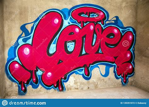 graffiti  word love   wall stock photo image