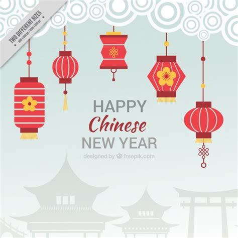 new year lantern vector flat background for new year with lanterns