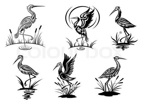 stork tattoos designs heron silhouette stork heron crane and egret