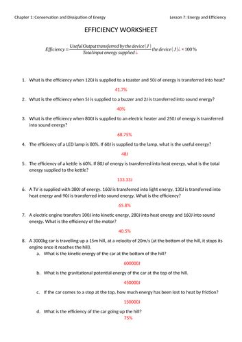 energy and efficiency worksheet with answers by jwansell