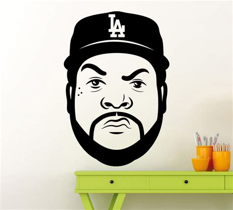 Tupac Wall Mural ice cube head wall sticker hip hop rap music vinyl decal home