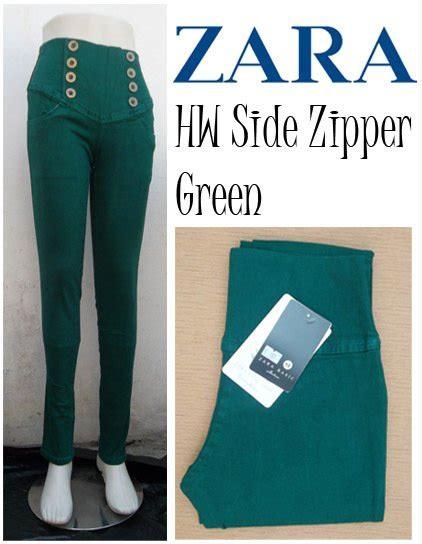 Diskon Celana Panjang Buka Pooh Soft jual jegging zara hw side zipper green baru celana panjang wanita berkualitas