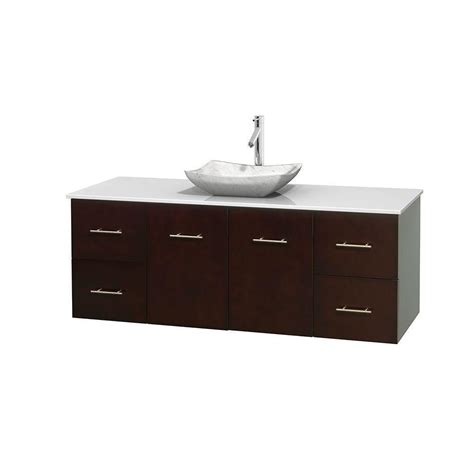 Solid Surface Vanity Top With Sink by Wyndham Collection Centra 60 In Vanity In Espresso With