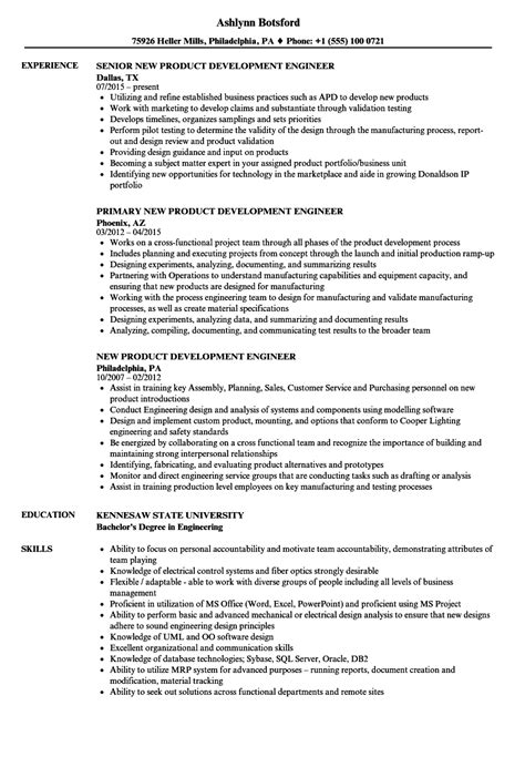 new product development engineer resume sles velvet