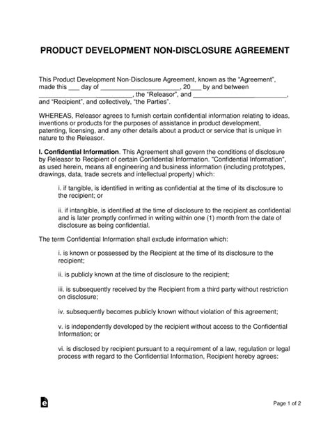 software nda template non disclosure agreement for software development
