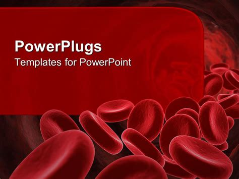 Powerpoint Template 3d Red Blood Cells Going Through The Body With Red Background For Text 3610 Blood Powerpoint Template