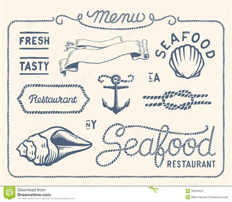 Nautical Decorations For Home Vintage Seafood Restaurant Collection Stock Vector Image