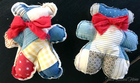 Patchwork Bears - teddy softie from a vintage quilt faith stitched home